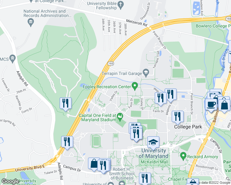 map of restaurants, bars, coffee shops, grocery stores, and more near South Farm Drive in College Park