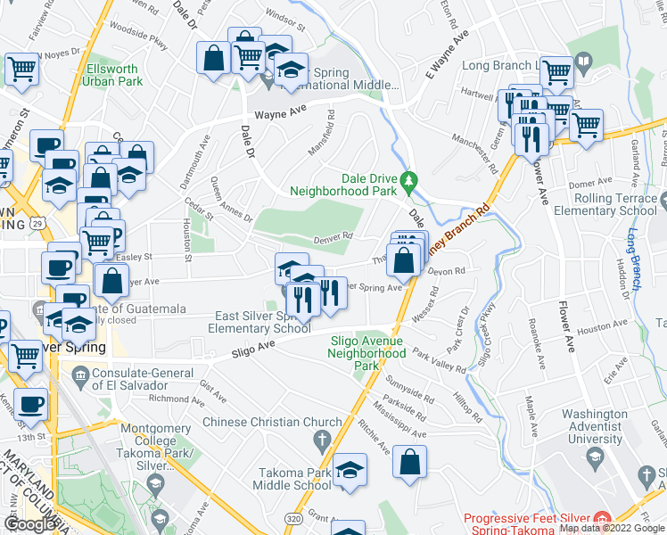map of restaurants, bars, coffee shops, grocery stores, and more near 513 Thayer Avenue in Silver Spring
