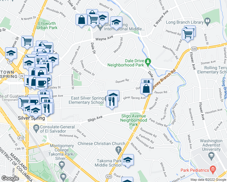 map of restaurants, bars, coffee shops, grocery stores, and more near 525 Thayer Avenue in Silver Spring