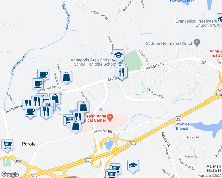 map of restaurants, bars, coffee shops, grocery stores, and more near 86 Harbour Heights Drive in Annapolis