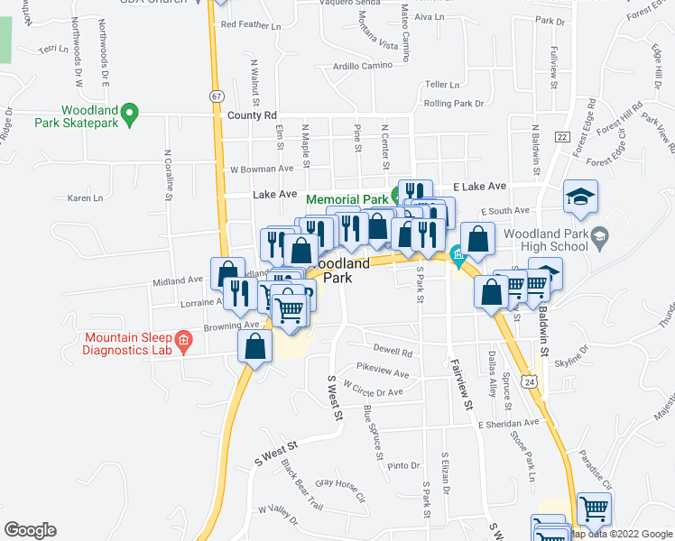 map of restaurants, bars, coffee shops, grocery stores, and more near in Woodland Park
