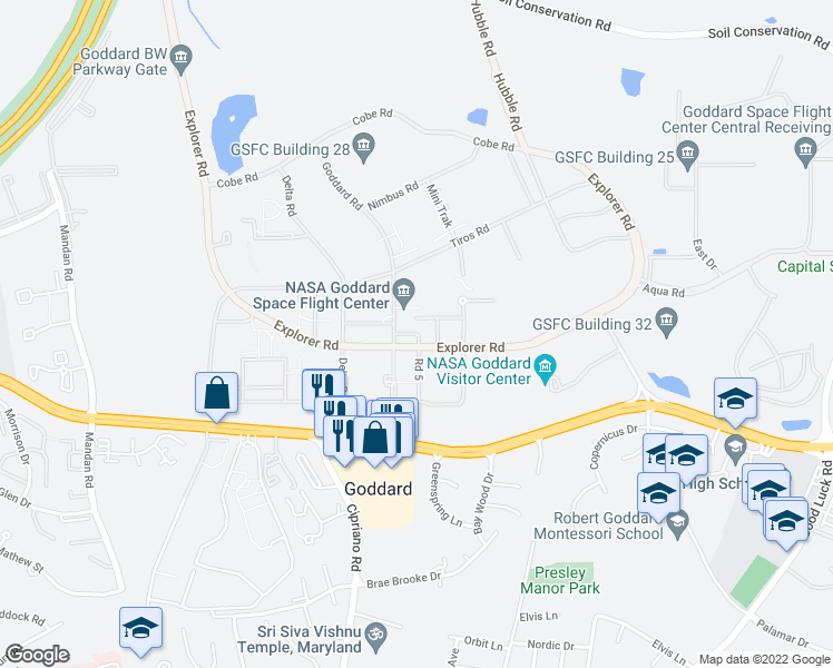 map of restaurants, bars, coffee shops, grocery stores, and more near Goddard Road in Lanham