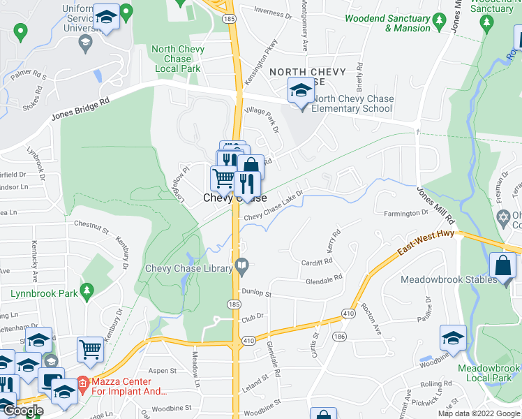 map of restaurants, bars, coffee shops, grocery stores, and more near 3650 Chevy Chase Lake Drive in Bethesda
