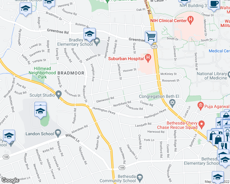 map of restaurants, bars, coffee shops, grocery stores, and more near 5610 Glenwood Road in Bethesda