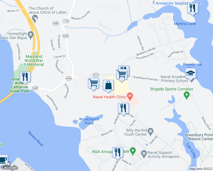 map of restaurants, bars, coffee shops, grocery stores, and more near 349 Kinkaid Road in Annapolis
