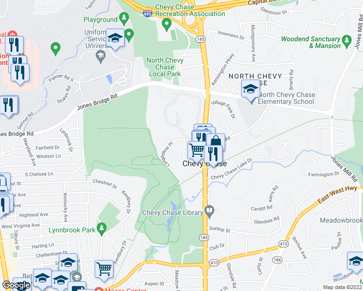 map of restaurants, bars, coffee shops, grocery stores, and more near 8512 Lynwood Place in Chevy Chase