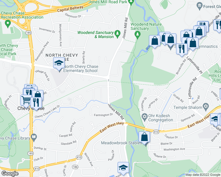 map of restaurants, bars, coffee shops, grocery stores, and more near 8611 Jones Mill Road in Chevy Chase