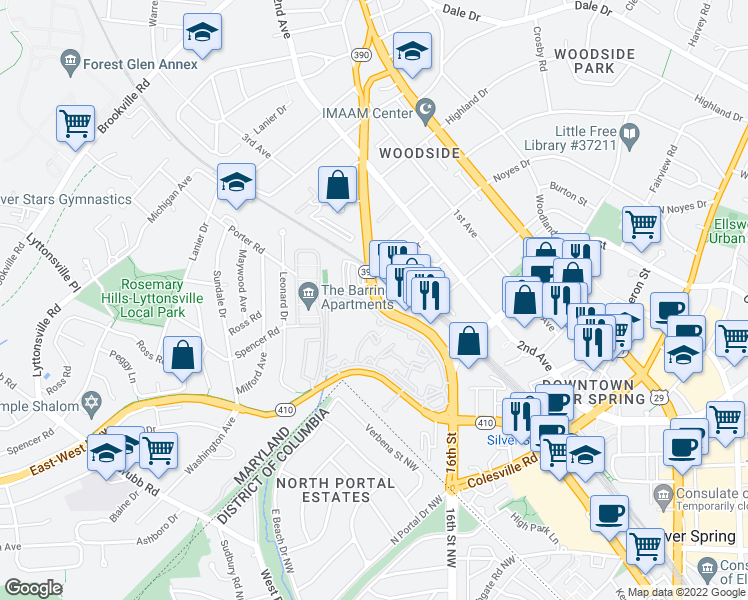 map of restaurants, bars, coffee shops, grocery stores, and more near 16th Street in Silver Spring