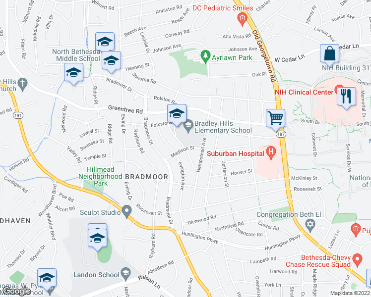 map of restaurants, bars, coffee shops, grocery stores, and more near Madison Street in Bethesda