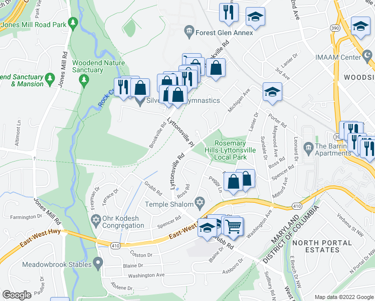 map of restaurants, bars, coffee shops, grocery stores, and more near 2501 Lyttonsville Road in Silver Spring