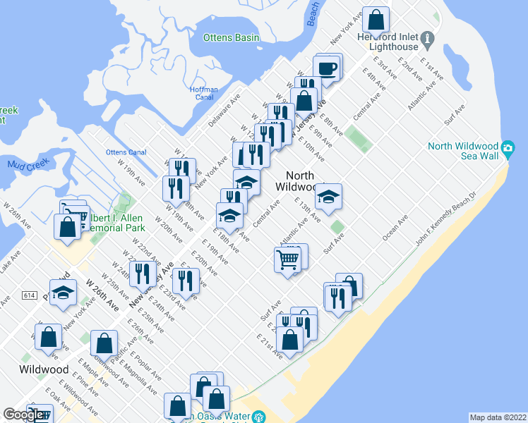 map of restaurants, bars, coffee shops, grocery stores, and more near 200 East 16th Avenue in North Wildwood