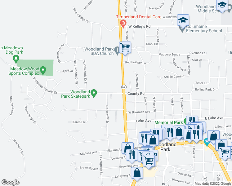 map of restaurants, bars, coffee shops, grocery stores, and more near 1120 Evergreen Heights Drive in Woodland Park