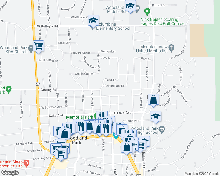 map of restaurants, bars, coffee shops, grocery stores, and more near 125 Rolling Park Drive in Woodland Park