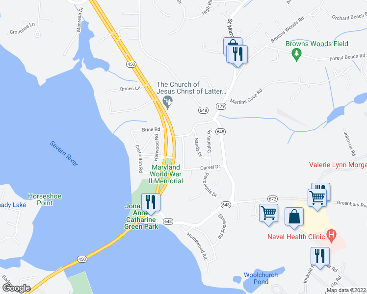 map of restaurants, bars, coffee shops, grocery stores, and more near Thomas Drive in Annapolis