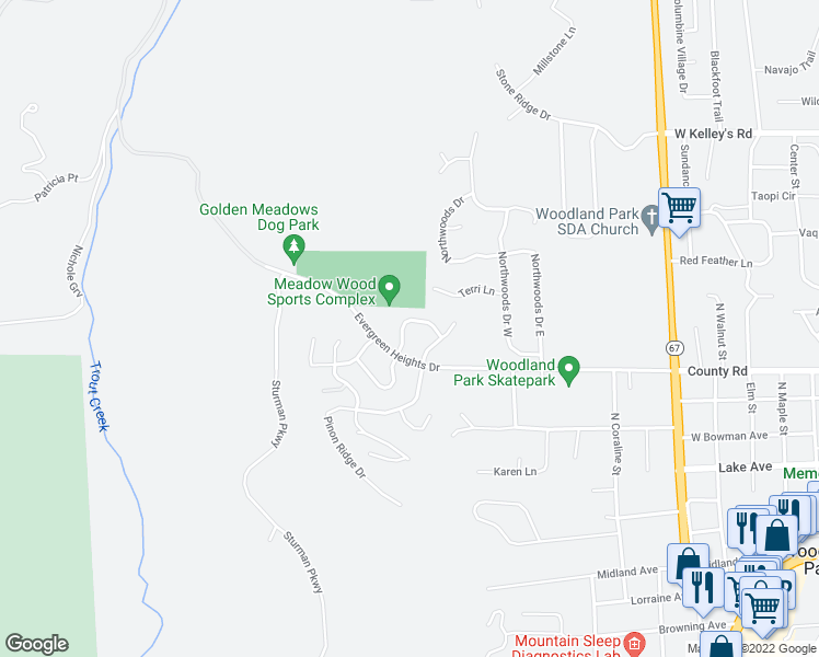 map of restaurants, bars, coffee shops, grocery stores, and more near 829 Misty Pines Circle in Woodland Park