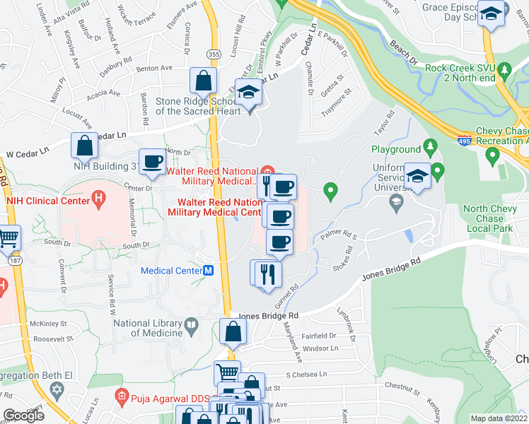 map of restaurants, bars, coffee shops, grocery stores, and more near R B Brown Drive in Bethesda