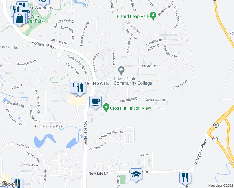 map of restaurants, bars, coffee shops, grocery stores, and more near Cloudy Creek Court in Colorado Springs