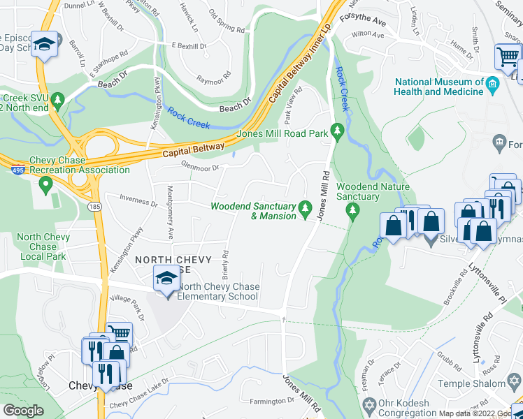 map of restaurants, bars, coffee shops, grocery stores, and more near 8940 Jones Mill Road in Chevy Chase