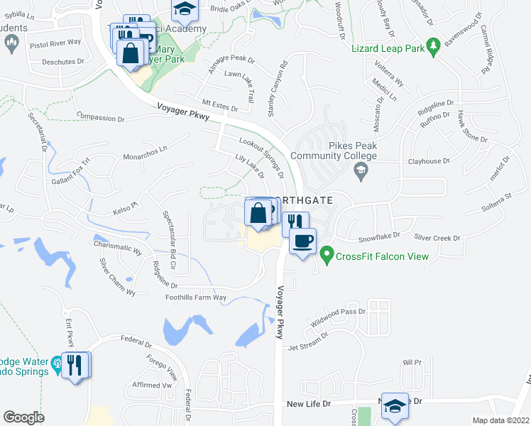 map of restaurants, bars, coffee shops, grocery stores, and more near 1640 Peregrine Vista Heights in Colorado Springs