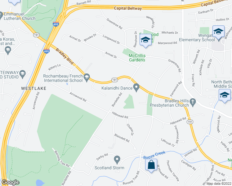 map of restaurants, bars, coffee shops, grocery stores, and more near 8920 Burdette Road in Bethesda