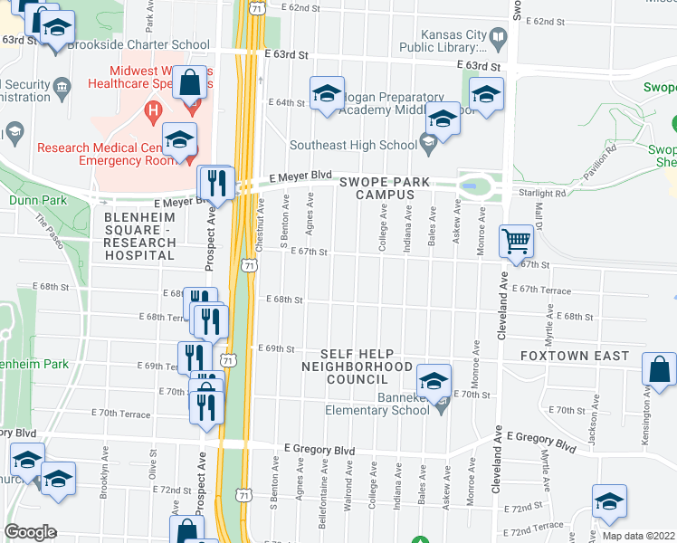 map of restaurants, bars, coffee shops, grocery stores, and more near 6715 Bellefontaine Avenue in Kansas City
