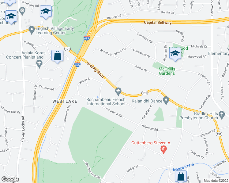 map of restaurants, bars, coffee shops, grocery stores, and more near 7116 Bradley Boulevard in Bethesda