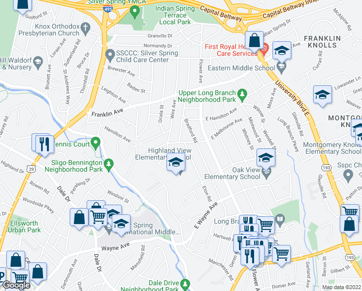 map of restaurants, bars, coffee shops, grocery stores, and more near 20 Melbourne Avenue in Silver Spring