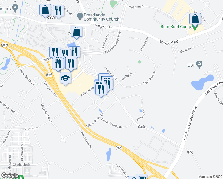 map of restaurants, bars, coffee shops, grocery stores, and more near Shellhorn Rd & Hartley Pl in Ashburn