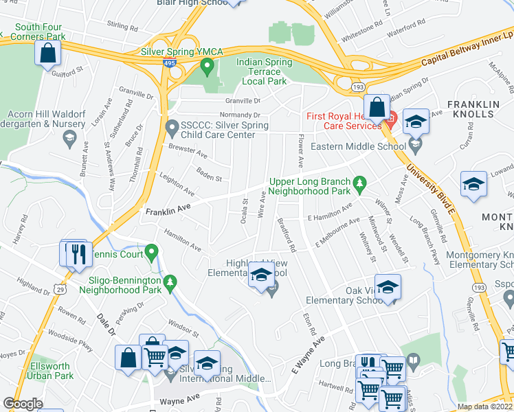 map of restaurants, bars, coffee shops, grocery stores, and more near 9314 Wire Avenue in Silver Spring