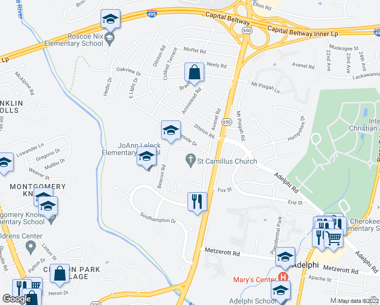 map of restaurants, bars, coffee shops, grocery stores, and more near 1516-1698 Saint Camillus Drive in Silver Spring