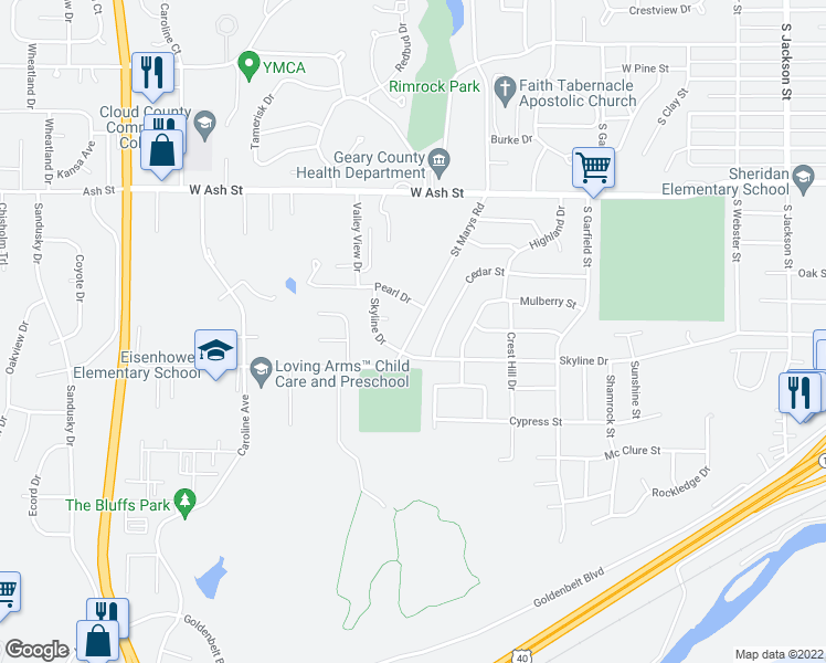 map of restaurants, bars, coffee shops, grocery stores, and more near 1528 Saint Marys Road in Junction City