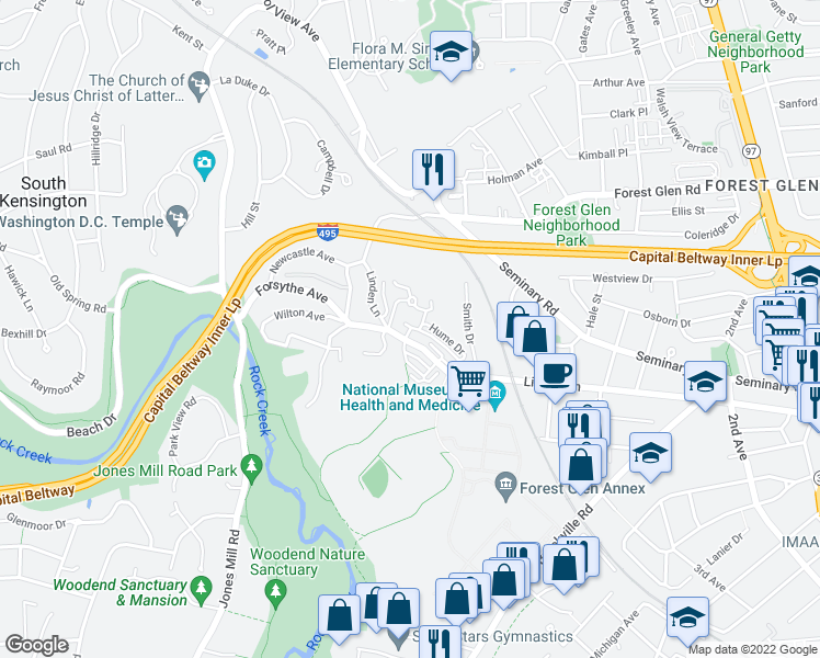 map of restaurants, bars, coffee shops, grocery stores, and more near 9539 Ament Street in Silver Spring