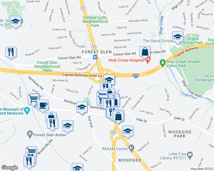 map of restaurants, bars, coffee shops, grocery stores, and more near Georgia Avenue in Silver Spring