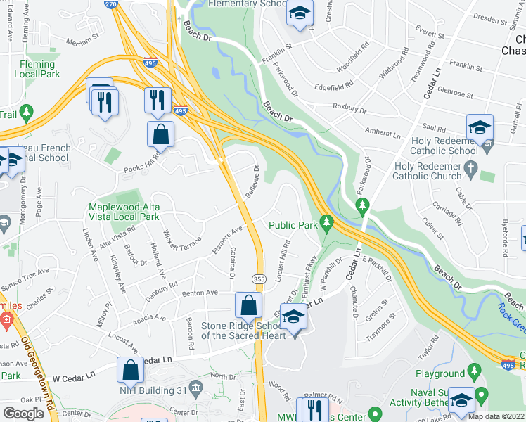 map of restaurants, bars, coffee shops, grocery stores, and more near 4843 Broad Brook Drive in Bethesda