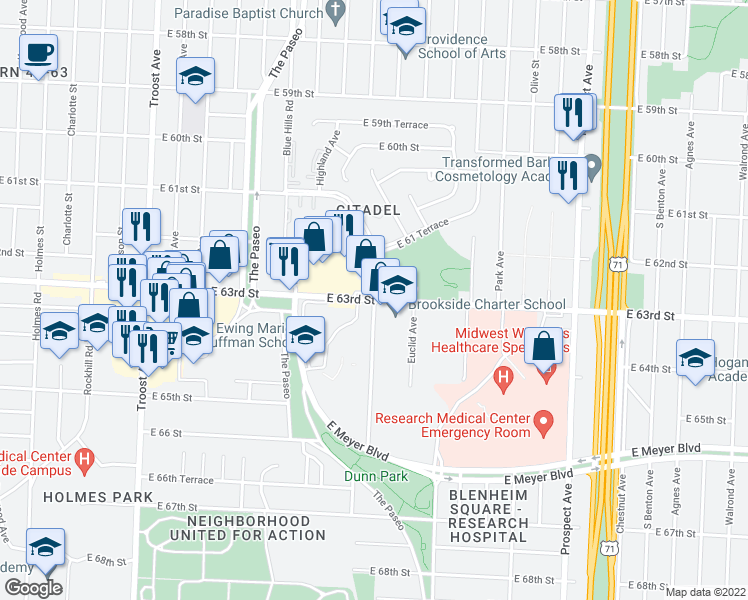 map of restaurants, bars, coffee shops, grocery stores, and more near East 63rd Street & Citadel Drive in Kansas City