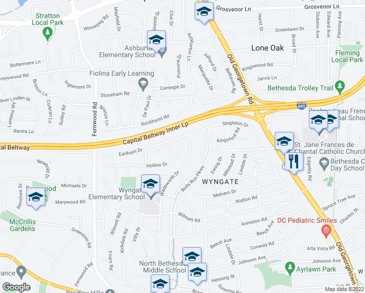 map of restaurants, bars, coffee shops, grocery stores, and more near 6206 Hollins Dr in Bethesda