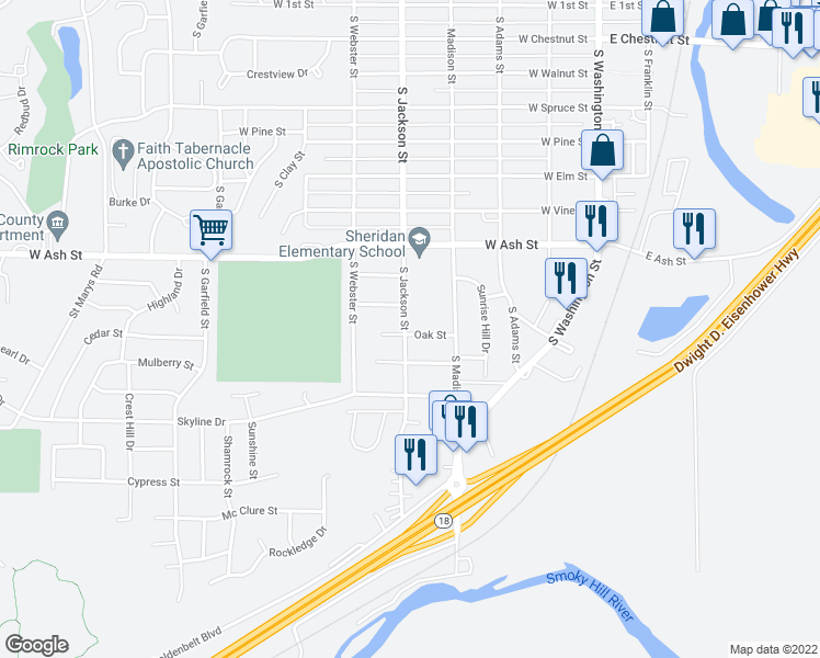 map of restaurants, bars, coffee shops, grocery stores, and more near 430 Oak Street in Junction City