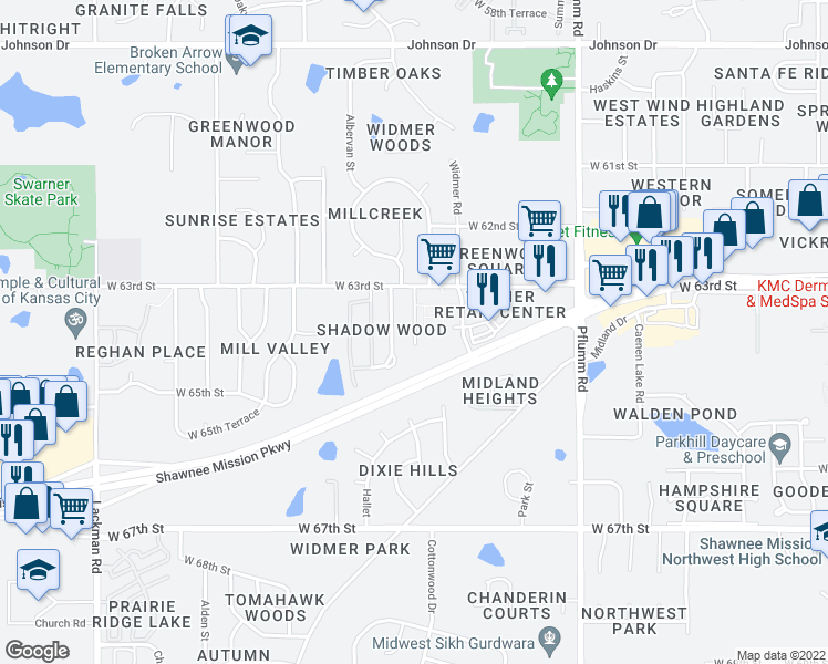 map of restaurants, bars, coffee shops, grocery stores, and more near 6318 Cottonwood Drive in Shawnee