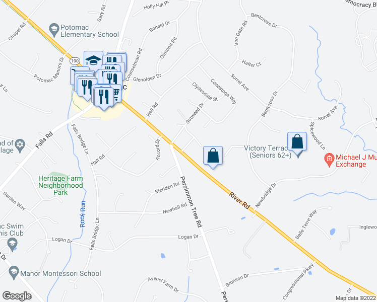 map of restaurants, bars, coffee shops, grocery stores, and more near 9601 Persimmon Tree Road in Rockville