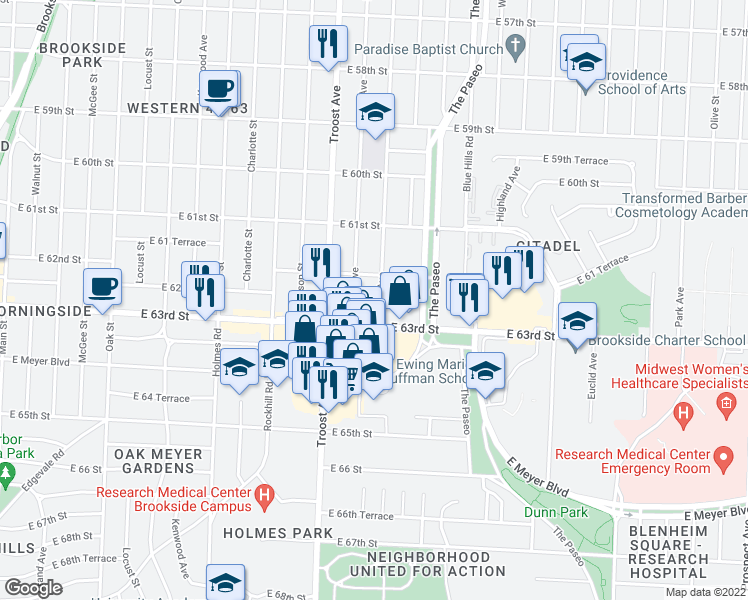 map of restaurants, bars, coffee shops, grocery stores, and more near 6220 Tracy Avenue in Kansas City