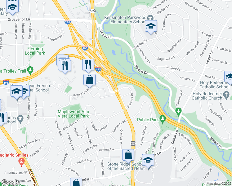 map of restaurants, bars, coffee shops, grocery stores, and more near 10300 Rockville Pike in Bethesda