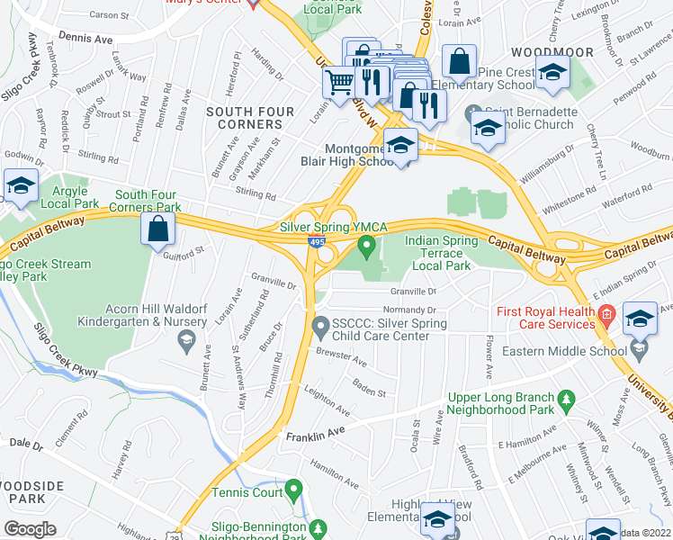 map of restaurants, bars, coffee shops, grocery stores, and more near Colesville Road in Silver Spring