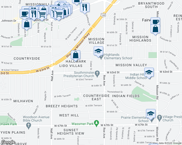 map of restaurants, bars, coffee shops, grocery stores, and more near 8948 Cedar Street in Mission