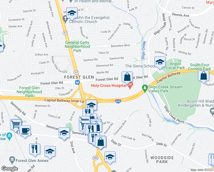 map of restaurants, bars, coffee shops, grocery stores, and more near 9713 Admiralty Drive in Silver Spring