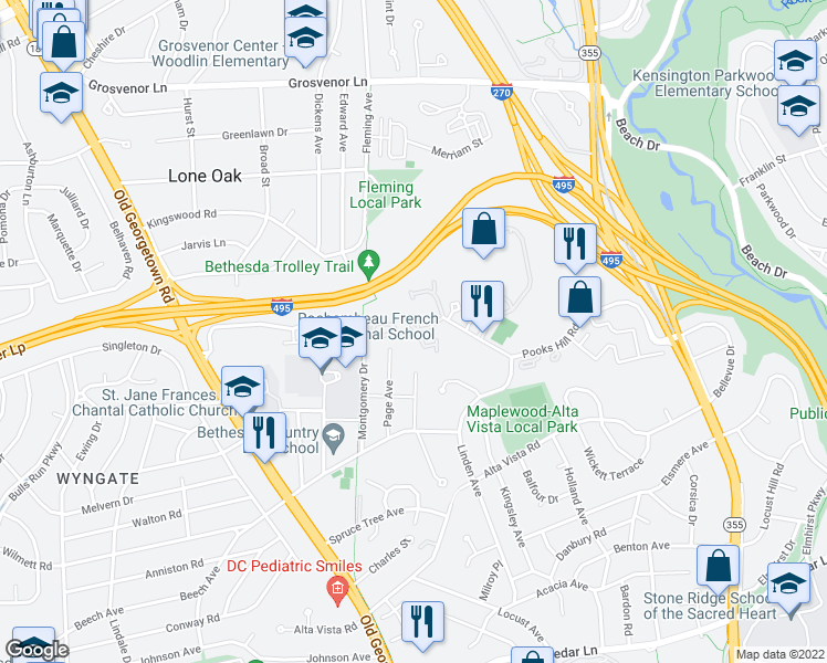 map of restaurants, bars, coffee shops, grocery stores, and more near 5515 Whitley Park Terrace in Bethesda