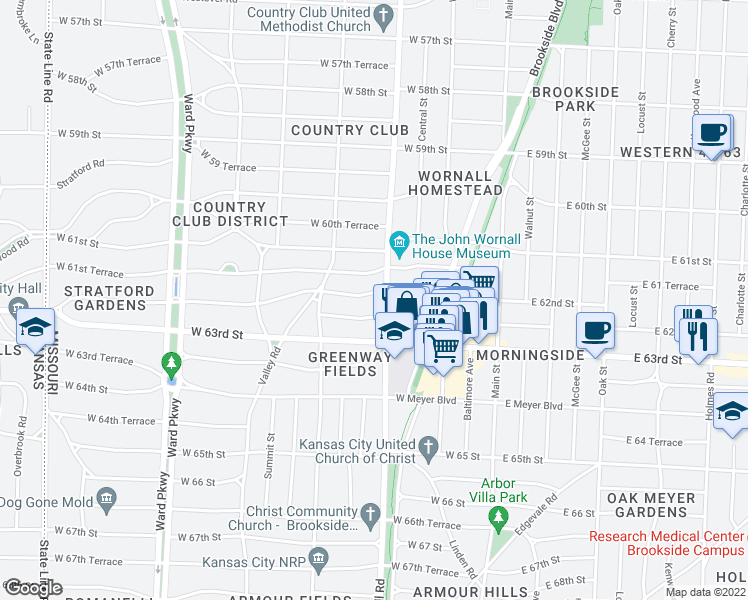 map of restaurants, bars, coffee shops, grocery stores, and more near 409 West 62nd Street in Kansas City