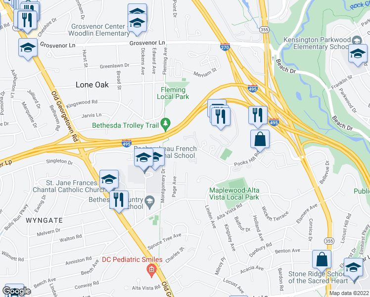 map of restaurants, bars, coffee shops, grocery stores, and more near 5432-5448 Whitley Park Terrace in Bethesda