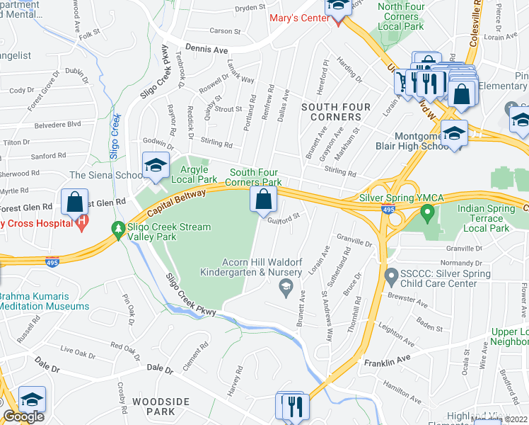 map of restaurants, bars, coffee shops, grocery stores, and more near 9803 Dallas Avenue in Silver Spring