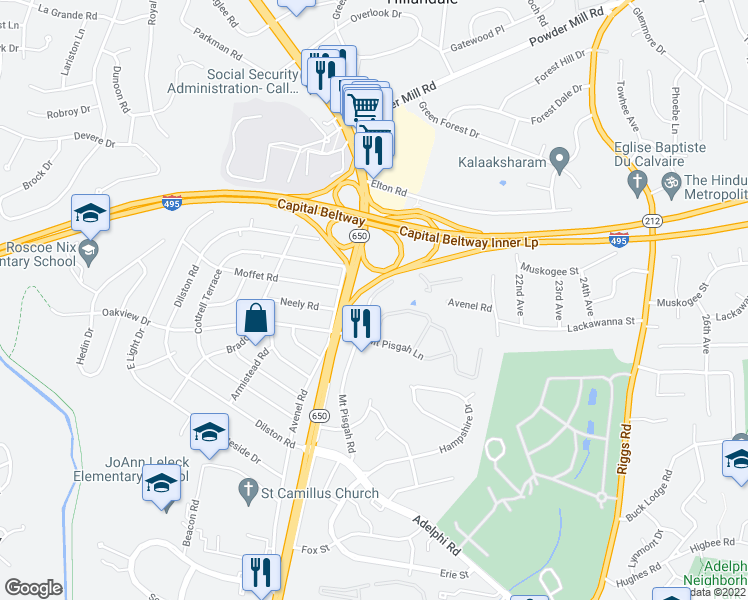 map of restaurants, bars, coffee shops, grocery stores, and more near Mount Pisgah Road in Silver Spring