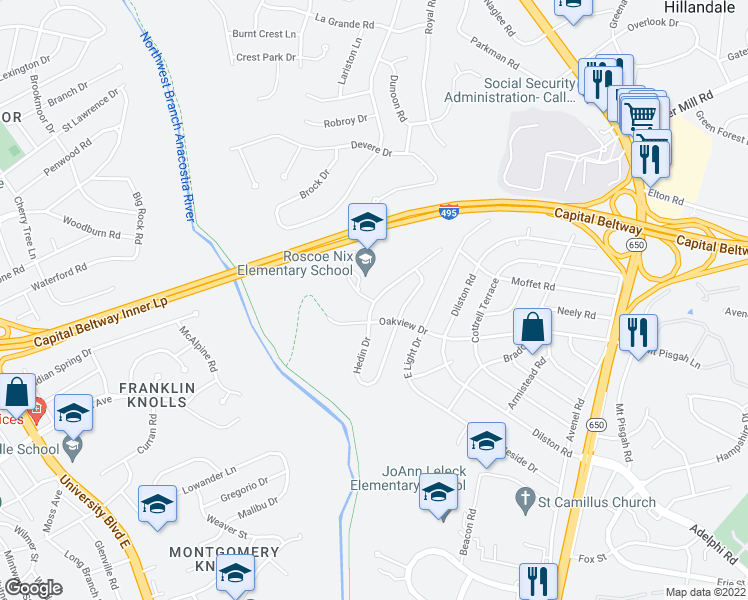 map of restaurants, bars, coffee shops, grocery stores, and more near 9802 Arbor Hill Drive in Silver Spring